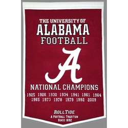 University of Alabama Vintage Wool Dynasty Banner with Cafe Rod