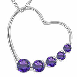 Round Amethyst Journey Heart Pendant in 14K White Gold