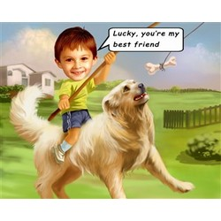 Boy's Best Friend Caricature from Photos