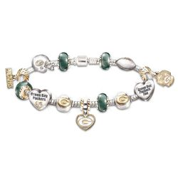 Go Packers! #1 Fan Charm Bracelet with Swarovski Crystals