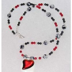 Fused Heart Pendant with Red, Black and White Beaded Necklace