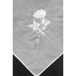 Women's Embroidered White Rose Handkerchiefs