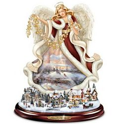 Thomas Kinkade Blessings of the Season Tabletop Angel Sculpture
