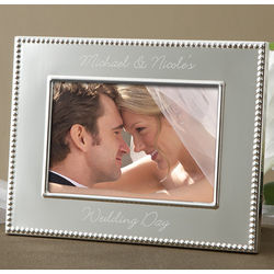 Engraved Silver Wedding Picture Frame