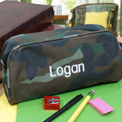 Embroidered Camo Pencil Case