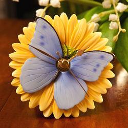 Blue Butterfly on Gerbera Daisy Flower Clock