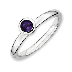 Sterling Silver Polished Round Amethyst Stackable Ring