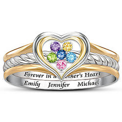 A Mother's Loving Heart Personalized Stackable Ring