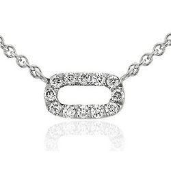 Mini Open Bar Diamond 14K White Gold Necklace