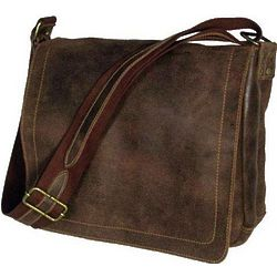 Distressed Leather North South Messenger Bag
