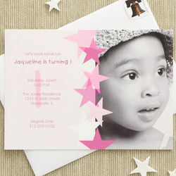 Pink Star Boy's Personalized Birthday Invitations
