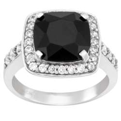 Sterling Silver Onyx and CZ Surround Ring