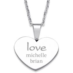 Stainless Steel Couple's Love with Names Heart Necklace
