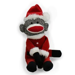 Santa Sock Monkey Stuffed Animal