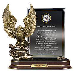 Personalized Navy Honor Eagle Sculpture with Plaque