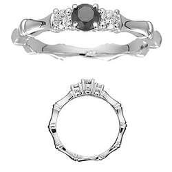 Black Diamond Three Stone Bamboo Style Ring