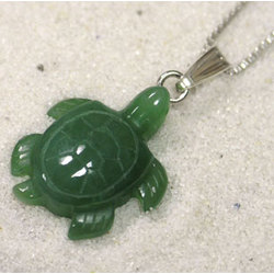 Hand Carved Nephrite Jade Turtle Pendant Necklace with Wooden Box