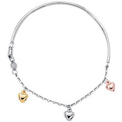 Children's Tri Color Heart Bangle in 14K Three Tone Gold