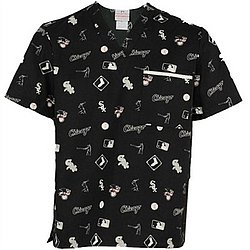Chicago White Sox Black All Over Print Scrub Top