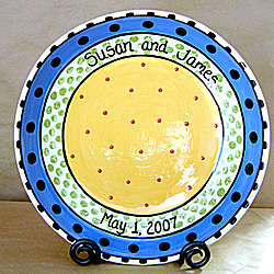 Personalized Ceramic Dots and Dashes Bowl