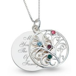 Sterling Birthstone Family Necklace