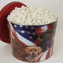 Popcorn Gift Tin with Patriotic Pups