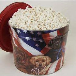 Popcorn Gift Tin with Patriotic Pups