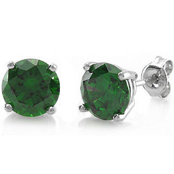 Sterling Silver 5mm Emerald CZ Solitaire Earrings