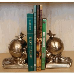 Flight Around the World Airplane Bookends