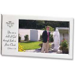 Satin Silver Confirmation Photo Frame with Dove