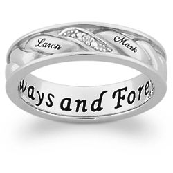 Women's Sterling Silver Woven Diamond and Name Band