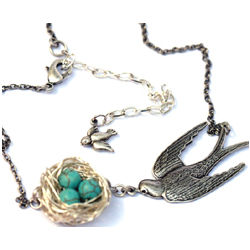 Silver Bird's Nest Adjustable Necklace