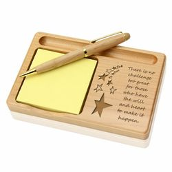 Make it Happen Wooden Notepad and Pen Holder