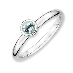 Sterling Silver Polished Aquamarine Stackable Ring