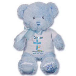 Baby Boy's Personalized God Bless Blue Bear