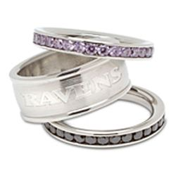 Stainless Steel and Crystal Stacked Baltimore Ravens Rings