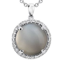 Sterling Silver Gray Moonstone Round Pendant