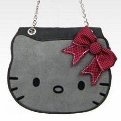 Hello Kitty Grey Suede and Tweed Die Cut Bag