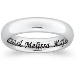 Women's White Tungsten Polished Laser Inside Engraved Band
