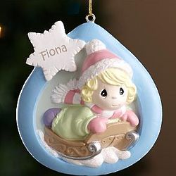 Personalized Precious Moments Girl on Sled Ornament