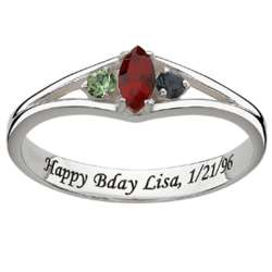 Engraved Sterling Silver Daughter's Marquise Birthstone Ring