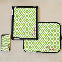 Personalized 3 Piece Ikat Print Phone, iPad Case and Sleeve Set