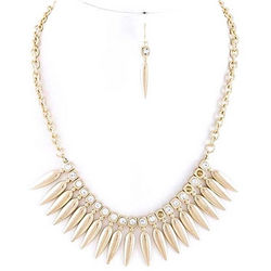 Spiked Stack Necklace and Earrings Set