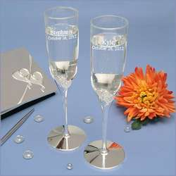 Personalized Square Script Lenox True Love Toasting Flutes