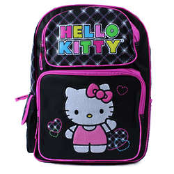 Hello Kitty Black Embroidered Backpack