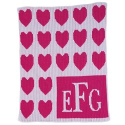 Monogrammed Lots of Hearts Baby Blanket