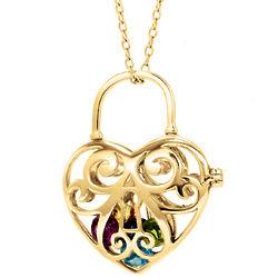 Gold Key to My Heart 4mm Round Birthstone Locket