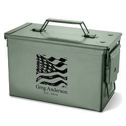 Personalized Metal Ammunition Box with US Flag Design
