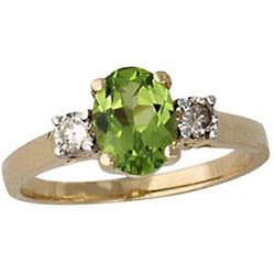 Peridot and Diamond Three Stone Ring 14K Yellow Gold