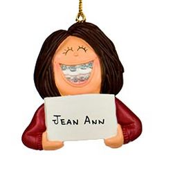 Girl with Braces Personalized Christmas Ornament